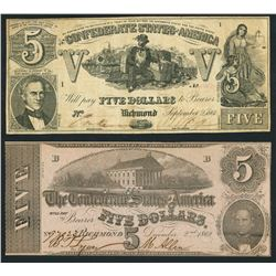 Lot of two Richmond, CSA, $5 notes, 1861-62.