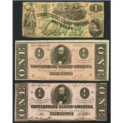Lot of three Richmond, CSA, $1 notes, 1862-64.