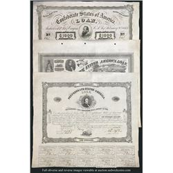 Lot of three Richmond, CSA, coupon bonds, 1862-63.