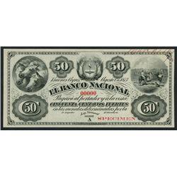 Buenos Aires, Argentina, Banco Nacional, specimen 50 centavos fuertes, 1-8-1873.
