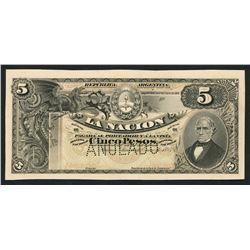 Buenos Aires, Argentina, Republica Argentina, 5 pesos front proofs, 1-1-1895.