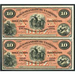 Gualeguaychu, Argentina, Banco Oxandeburu y Garbino, uncut pair 10 pesos bolivianos remainders, 2-1-