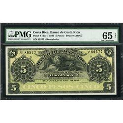 San Jose, Costa Rica, Banco de Costa Rica, remainder 5 pesos, 1-4-1899, certified PMG Gem UNC 65 EPQ