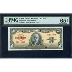 Cuba, Banco Nacional de Cuba, 50 pesos, 1958, certified PMG Gem UNC 65 EPQ.