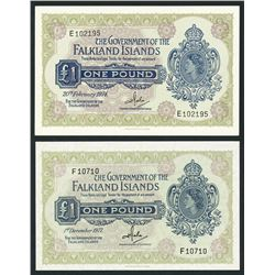 Lot of two Falkland Islands, Government of the Falkland Islands, 1 pound, 1974-77.