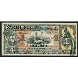 Quetzaltenango, Guatemala, Banco de Occidente en Quetzaltenango, 1 peso, 1-8-1914.