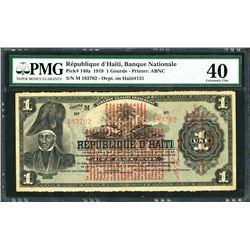 Haiti, Republique d'Haiti, 1 gourde, 12-4-1919, certified PMG XF 40.