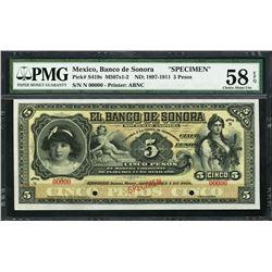 Hermosillo, Sonora, Mexico, Banco de Sonora, specimen 5 pesos, ND (1897-1911), certified PMG AU 58 E