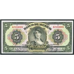 Mexico, Banco de Mexico, 5 pesos, 9-8-1933.