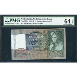 Netherlands, Nederlandsche Bank, 10 gulden, 10-4-1942, certified PMG UNC 64 EPQ.