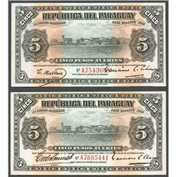 Lot of two Asuncion, Paraguay, Banco de la Republica, 5 pesos fuertes, 25-10-1923.