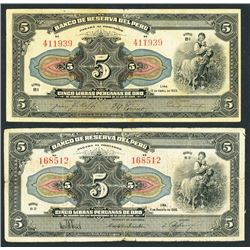 Lot of two Peru, Banco Central, 50 soles oro, ND (1935) overprinted on Peru, Banco de Reserve, 5 Lib