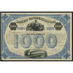 Lima, Peru, Banco Garantizador, 1,000 soles bond, 2-8-1875.