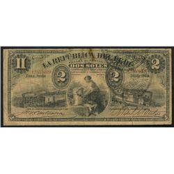 Lima, Peru, Republica del Peru, 2 soles, 30-6-1879, with 1881 Arequipa provisional stamp.