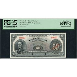 Caracas, Venezuela, Banco Central, specimen 50 bolivares, ND (1940-60), certified PCGS Gem New 65 PP