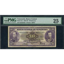 Caracas, Venezuela, Banco Central, 10 bolivares, 22-4-1954, certified PMG VF 25.
