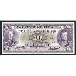 Caracas, Venezuela, Banco Central, 10 bolivares, 11-3-1960, certified PMG Choice UNC 64.