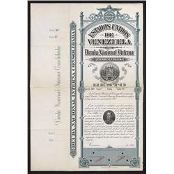 Caracas, Venezuela, specimen non-denominated bolivares national debt bond, 1896.