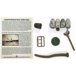 Assemblage of Confederate shipboard artifacts from the Modern Greece (1862) in a Riker box.