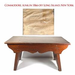 Mahogany stool made with wood from the Commodore wreck (1866), with Christmas day gift note from 190