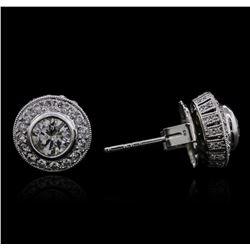 14KT White Gold 1.75 ctw Diamond Earrings