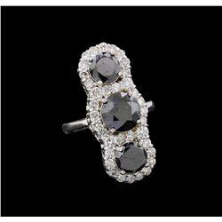 7.02 ctw Black Diamond Ring - 14KT White Gold