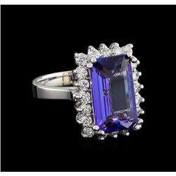 5.16 ctw Tanzanite and Diamond Ring - 14KT White Gold