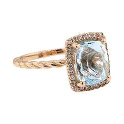 5.81 ctw Aquamarine and Diamond Ring - 14KT Rose Gold