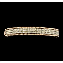 1.85 ctw Diamond Bangle Bracelet - 14KT Rose and White Gold
