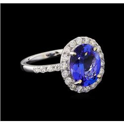 4.22 ctw Tanzanite and Diamond Ring - 14KT White Gold