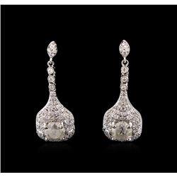 2.59 ctw Diamond Earrings - 14KT White Gold