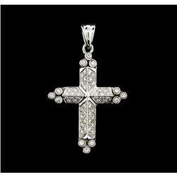 0.80 ctw Diamond Cross Pendant - 14KT White Gold