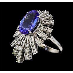 5.73 ctw Tanzanite and Diamond Ring - 14KT White Gold