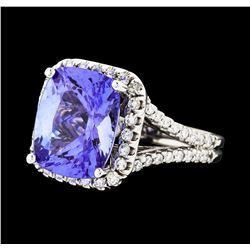 6.46 ctw Tanzanite and Diamond Ring - 14KT White Gold