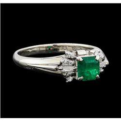 0.60 ctw Emerald and Diamond Ring - Platinum