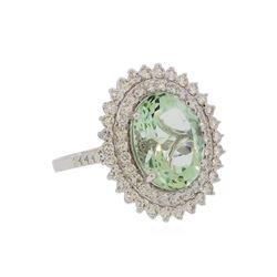 4.98 ctw Aquamarine and Diamond Ring - 14KT White Gold