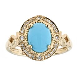 1.50 ctw Turquoise and Diamond Ring - 14KT Yellow Gold