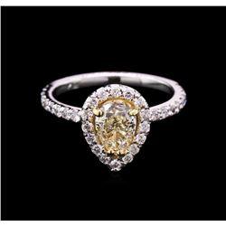 1.71 ctw Light Yellow Diamond Ring - 14KT White Gold