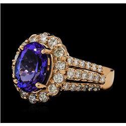3.44 ctw Tanzanite and Diamond Ring - 14KT Rose Gold