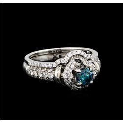0.45 ctw Blue Diamond Ring - 14KT White Gold