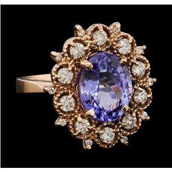 4.36 ctw Tanzanite and Diamond Ring - 14KT Rose Gold