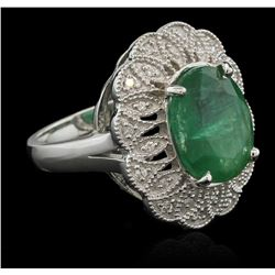 5.48 ctw Emerald and Diamond Ring - 14KT White Gold