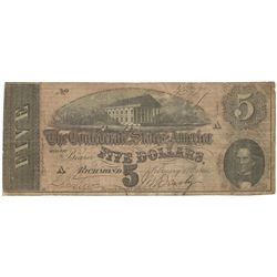 1864 $5 The Confederate States of America Note T-69 CC