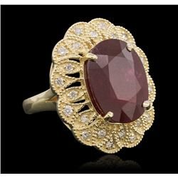 14KT Yellow Gold 12.63 ctw Ruby and Diamond Ring