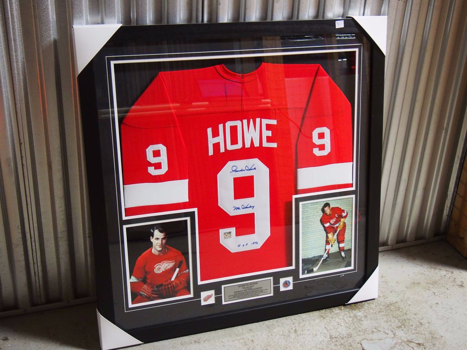 framed red wings jersey