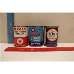 1/2 Pint Tins (3)(Texaco, Whiz Zorbit,& Kleen-Flo)