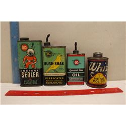 Lot Of Whiz Tins (4) (Instant Sealer, General Use, Metal Polish, Hush-Shak) Most Full