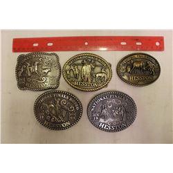 Lot Of Men's Hesston Rodeo Belt Buckles (5)
