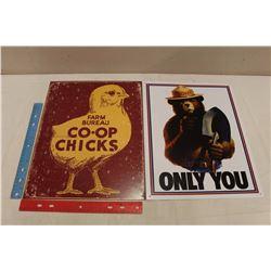 Retro Advertising Signs (2)(Smokey& Co-Op Chicks)