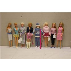 Lot of 1960's Barbie Dolls (8)w/Stands